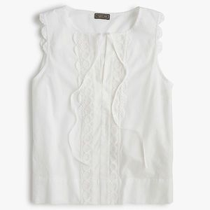J.Crew (Point Sur) White Sleeveless Blouse, Small